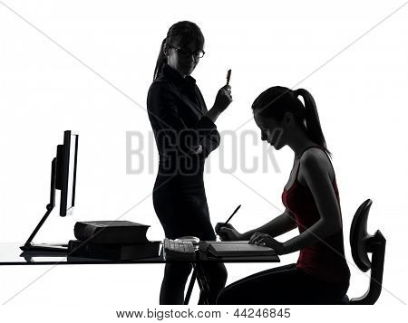 one caucasian teacher woman mother teenager girl studying  in silhouette studio isolated on white background