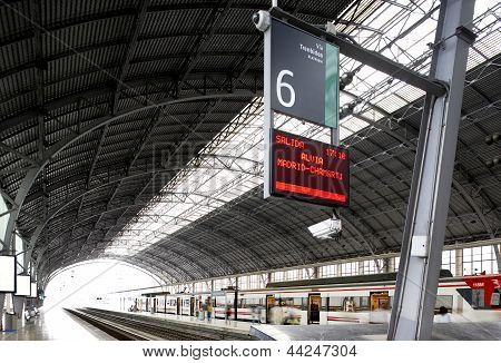 Railway Station With Panel Information
