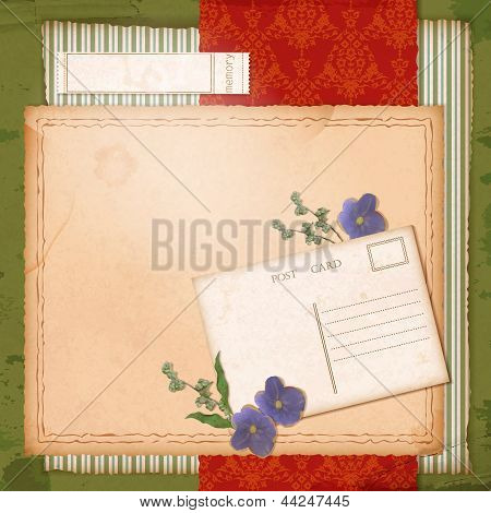 Scrapbook Old Paper Background With Dried Flower