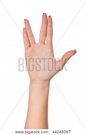 Female Palm Hand Vulcan Gesture, Isolated On White