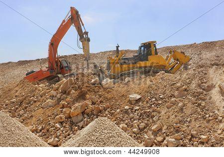 Excavator Machines Loading Soil