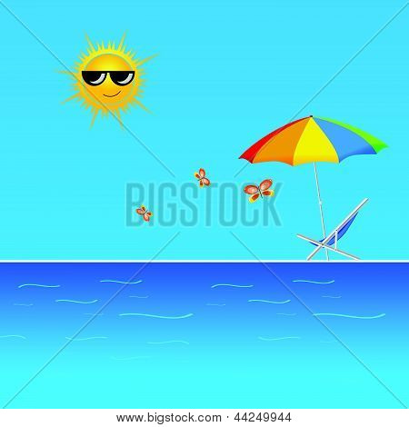 Beach With Butterfly Vector Illustration