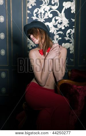 Girl With Red Bow-tie And Deep Red Pants