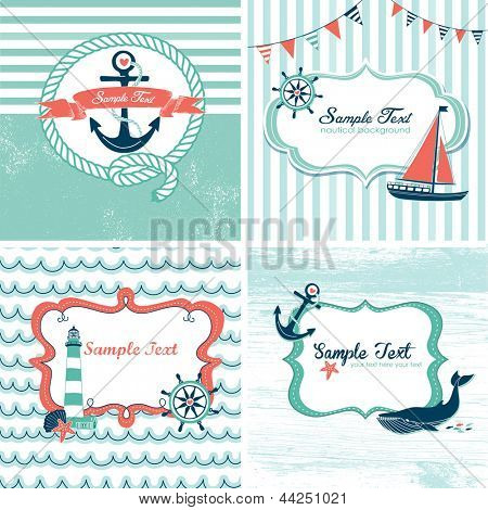 Set of 4 Nautical cards