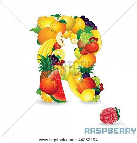 Vector Alphabet From Fruit. For Letter R Fruit is Raspberry.