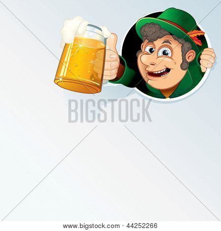 Happy Bavarian Man Hold an Oktoberfest Beer Stein. Vector Background