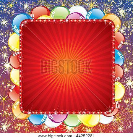 Fundo festivo com balões e fogo de artifício. Vetor com espaço para texto