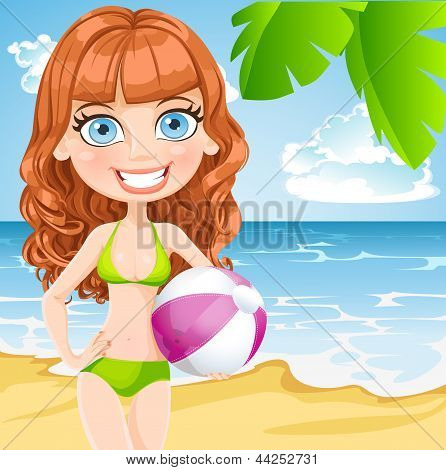 Young girl in a bathing suit with an inflatable ball on sunny beach