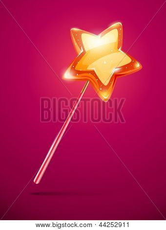 fairytale magic wand with shining star at the end - eps10 vector illustration.