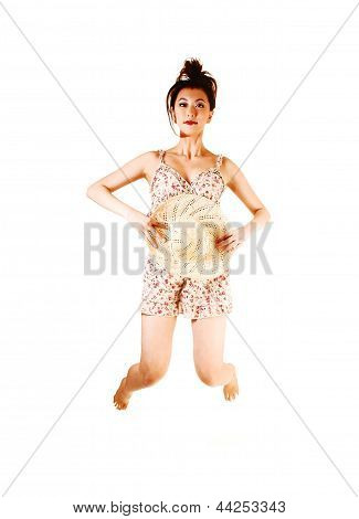 Girl In Dress Jumping.