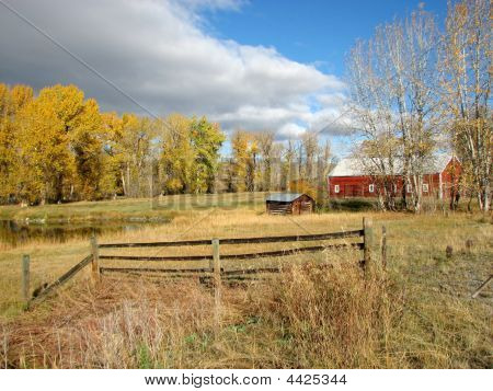 Photograph Of Montana Old Farm And Homestead With Pond And Barn