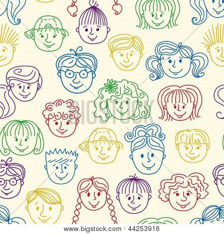 Seamles children faces pattern