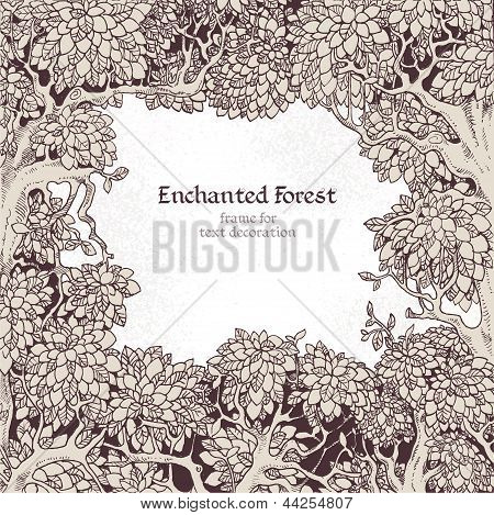 Frame for text decoration Enchanted Forest