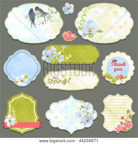 Collection of vintage labels with spring flowers and swallows with an empty seat for your text, vector set 2.