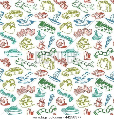 Travel And Rest Seamless Pattern Vector