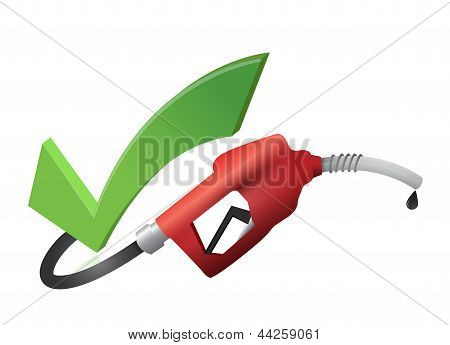 Approval Check Mark With A Gas Pump Nozzle
