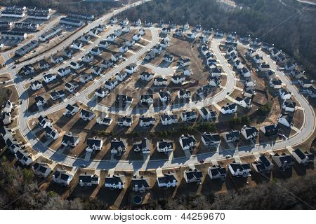 Suburban sprawl housing track in late afternoon light.