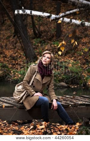 Young blond woman sitting on the wooden bridge in autumn forest