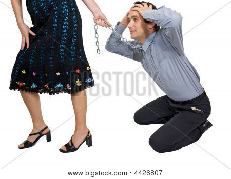 Woman Pulling A Businessman