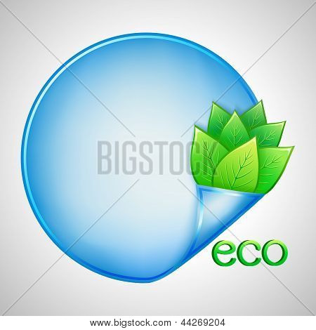 Eco Background With Green Leaves And Paper