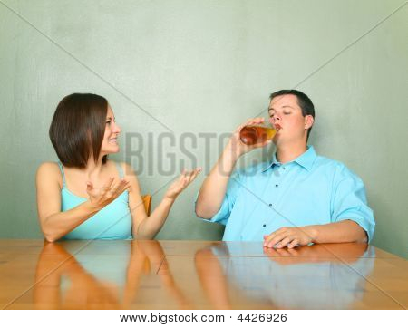 Angry Woman Toward Her Drunk Husband