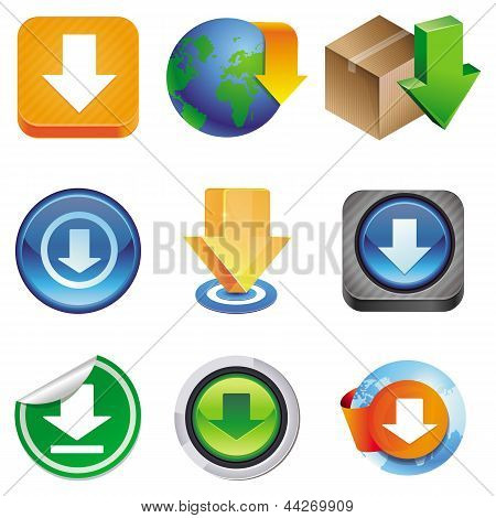 Vector Set With Download Icons