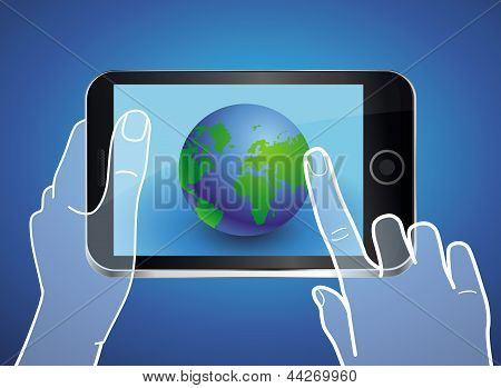 Vector Mobile Phone With Globe Icon On The Screen