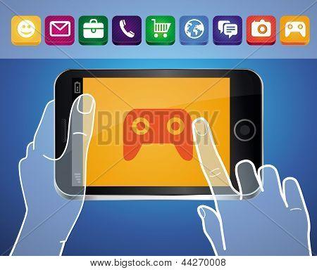 Vektor-Handy mit Händen und Spiel-Symbol