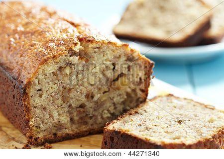 Sliced banana bread with walnuts