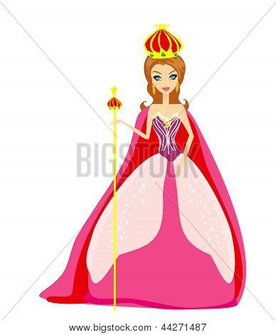 A Vector Illustration Of Cartoon Queen