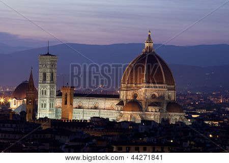 Cathedral of Florence Italy At Night from the Michelangelo's Piazza