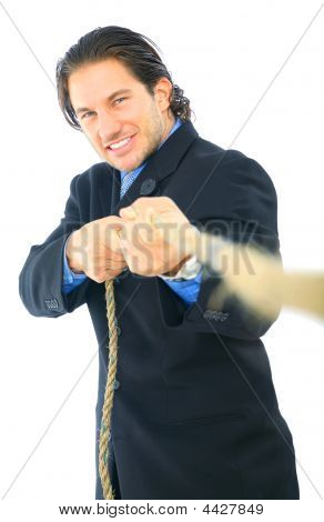 Young Man Pulling Rope