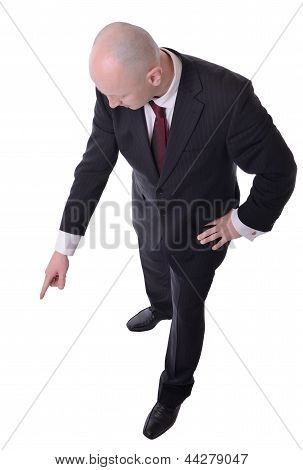 Businessman Pointing Down