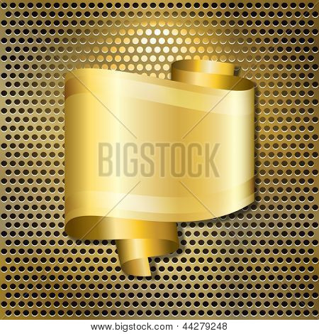 A speech bubble in the form of a scroll of gold ribbon, with space for your text, over a back-lit golden grille. EPS10 vector format.