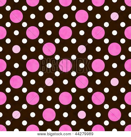 Pink, White And Brown Polka Dot Fabric Background