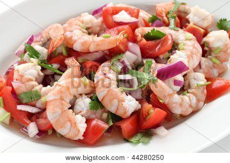 shrimp ceviche , prawn ceviche, seafood marinated salad