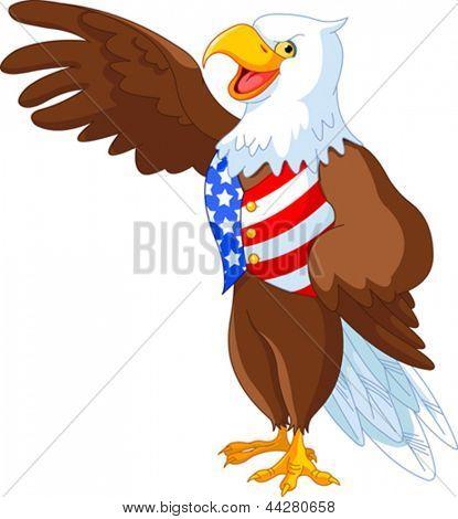 Patriotic American bald eagle presenting