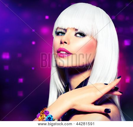 Fashion Vogue Style Model Portrait. Beauty Woman with White Hair and Black Nails. Disco Party Girl Portrait. Purple Makeup. Abstract Lights Background