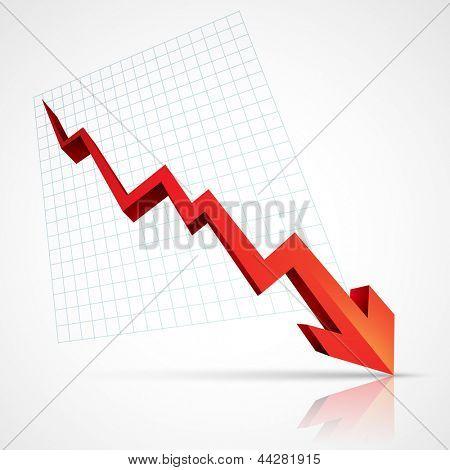 flecha roja hacia abajo mostrando crisis