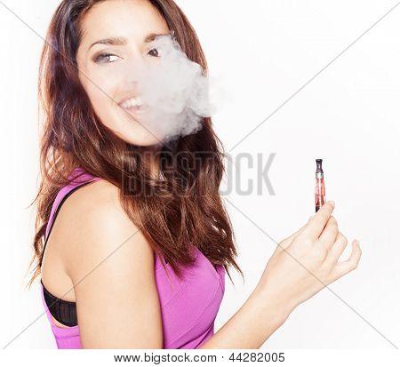 woman smoking e-fag wearing purple dress