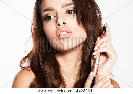 woman smoking e-cigarette with no smoke