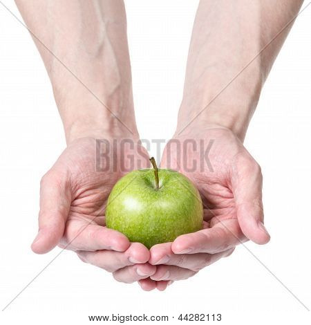 Adult Man Hands Giving Green Apple