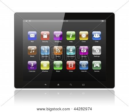 Tablet pc com ícones