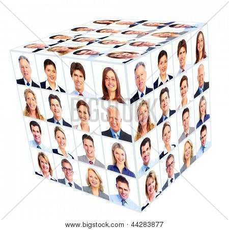 Business person group. Cube collage. Isolated on white background.