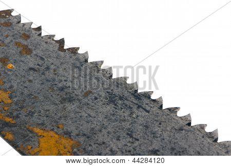 Rusty Retro Metal mão de serra branca na diagonal