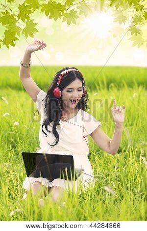 Beautiful Girl Dancing In Spring