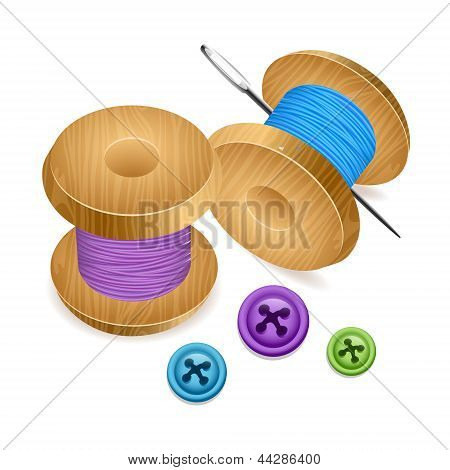 Spool of thread with buttons