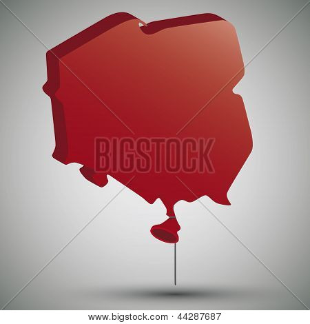 map of Poland in form of a balloon