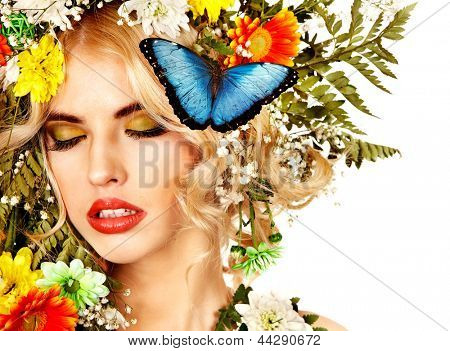 Face of woman with make up and butterfly. Isolated.