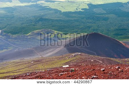 Photo taken during the descent from the Mt. Fuji. Slopes of the mountain are multicolored - which is caused by various igneous minerals and plants. Japan